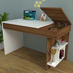 HIDDEN Schreibtisch   Computertisch Mit Regal In Modernem Design (Weiß /  Nussbaum)