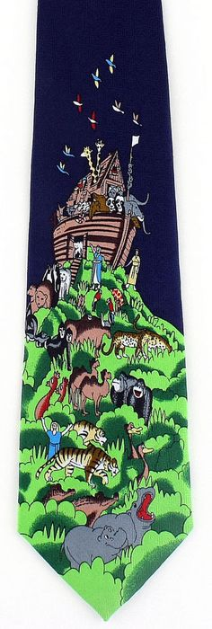 New The Ark Has Landed Mens Necktie Religious Christian Animals Bible Neck Tie #Parquet #NeckTie