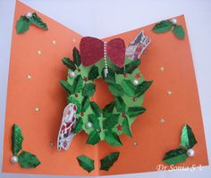 Cards ,Crafts ,Kids Projects: Pop Up Wreath Card