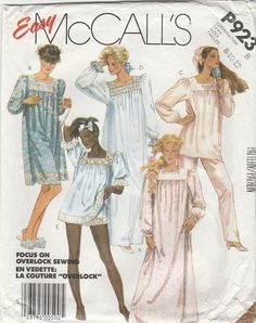 80s McCalls Women Nightgown PJs Top Pants Shorts Sleepwear Sewing Pattern P923 Miss8-10-12