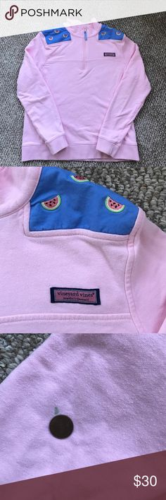 Vineyard Vines 1/4 zip sweatshirt Pink with watermelon embroidered on shoulders. One small mark on sleeve... note in picture with coin. 100% cotton. Size medium. Equal to a 2/4 Vineyard Vines Tops Sweatshirts & Hoodies