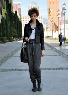 Biker Jacket + Basic Tee + High Waist Baggy Trousers + Ankle Top Sneakers