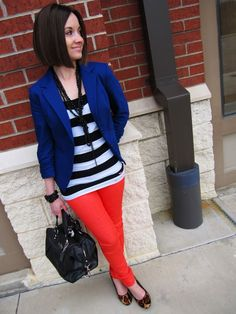 blue blazer, poppy skinny jeans, black & white stripe tank, Coach bag, leopard wedges