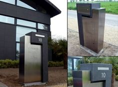Contemporary mailboxes – a modern look at a simple object Mailboxes For Sale, Home Mailboxes, Unique Mailboxes, Home Garden Design, House Design, Stainless Steel Mailbox, Contemporary Mailboxes, Mailbox Numbers, House Numbers