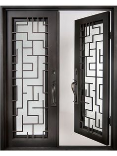 Utilize this Iron Doors Unlimited Bel Sol Full Lite Painted Oil Rubbed Bronze Decorative Wrought Iron Entry Door for your new or remodeling construction. Door Grill, Window Grill Design, Iron Gates, Iron Doors, Modern Window Grill, Double Door Design, Door Gate Design, Art Deco, Entry Doors