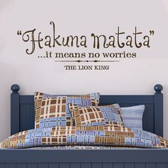 Wall Decals Vinyl Wall Decal Quote - Hakuna Matata - it means no worries, The Lion King, Vinyl lettering, sticker