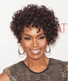 Angela Bassett Hairstyle - Formal Short Curly. Click on the image to try on this hairstyle and view styling steps!