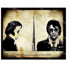 Elvis Presley  King of Rock n Roll mugshot from 1970 photo