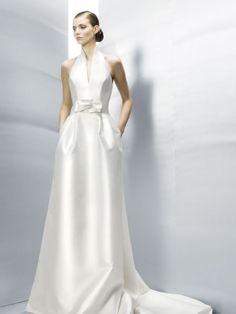 Bridal Dress With Pockets Halter Full Satin Princess Side Western Wedding