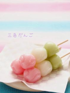 The three colors dumpling is wagashi of Japan.