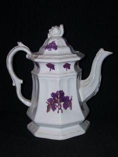 19C antique white ironstone copper luster grape coffee pot