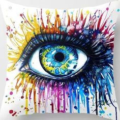 18-Super-Soft-Cotton-Velvet-Colorful-Eyes-White-Pillow-Case-Cushion-Cover-RC4