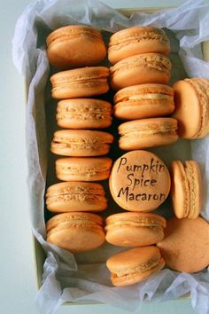 ♡♡♡ Pumpkin spice macarons with pumpkin cream cheese filling. Pumpkin spice macarons with pumpkin cream cheese filling. Pumpkin Recipes, Fall Recipes, Cookie Recipes, Dessert Recipes, Just Desserts, Delicious Desserts, Yummy Food, Healthy Food, Macaron Dessert