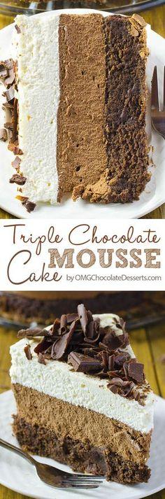 Perfect light chocolate cake recipe with white chocolate mousse and dark chocolate mousse layer. Triple chocolate mousse cake.