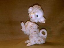Vintage Spaghetti Poodle Dog Figurine White-Gold Gild-Pink Roses-Long Tail-Japan
