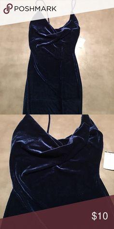 Velvet Blue Strappy Dress Velvet blue midi dress Windsor Dresses Midi
