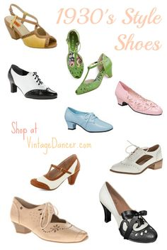 New 1930s style shoes are great additions to your 1930s fashions. Choose from these cute oxfords, heels, sandals, and boots with vintage 1930s shoe style