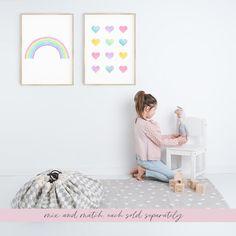 Heart Watercolor Printable instant download heart print | Etsy Rainbow Print, Rainbow Baby, Rainbow Nursery Decor, Minimalist Nursery, Heart Wall Art, Girl Decor, Heart Print, Wall Prints, Easy