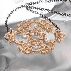 Gold lace necklace / handmade lace / lace fashion / by Decoromana,