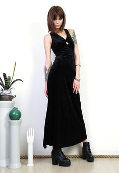 a94f35b4e9a Black velvet dress 90s classy cut out back maxi dress