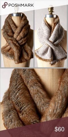 """❤Anthropologie Faux Fur Neckwarmer❤️ Brand new without tags! I will only consider reasonable offers through the offer button, NO TRADES!  Polyester, viscose, nylon, mohair Dry clean Imported 38""""L, 6.5""""W Anthropologie Accessories Scarves & Wraps"""