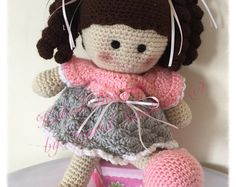 Rosy the doll pattern, crochet doll pattern, crochet pattern