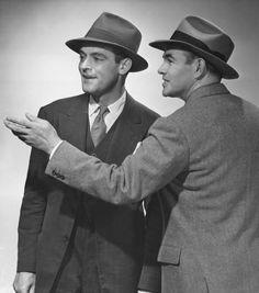 Chapeaux des années 50 #mode #homme #chic #chapeau #costume #cravate #annees50 #vintage #mens #fashion #hat #suit #tie #50s