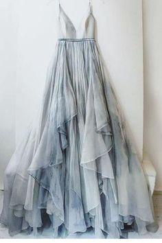 Spaghetti Straps V-neck Prom Dress,Long Backless Senior Prom Dress,Formal Women Dresses,N43