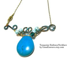 Turquoise Embrace Bib Necklace Artistic Jewelry Handmade Necklace Wired Work…