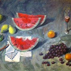 Pavlos Samios, painting, watermelon