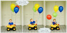 Happy first Birthday baby boy Debby Ditta Photography: One year cake smash session primary colors theme.  tonka truck balloons, banner cake. Tomball, Houston, Spring, the Woodlands, Cypress, Magnolia child and baby photographer Debby Ditta Photography: