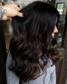 Black Hair With Highlights, Hair Color For Black Hair, Hair Highlights, Chunky Highlights, Caramel Highlights, Color Highlights, Black Hair With Lowlights, Chocolate Brunette Hair, Dark Brunette Hair