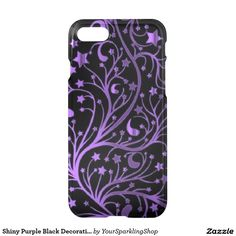 #Purple Black Decorative Metallic Look Stars  #iPhone7 Case #giftideas