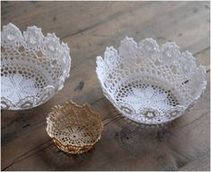 DIY lace doily bowl, and other ideas for crafting with lace doilies.
