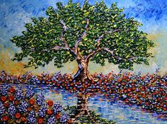 Isabelle Dupuy. Blossoming Springtime on the Riverway - MEDIUM: Original  Acrylic on Canvas SIZE: 30x40