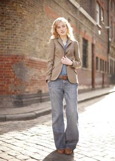 Love the tweed jacket, with baggy jeans and boots - would definitely wear this on one of my feel-like-dressing-like-a-brit days =]