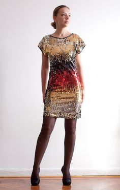 Multicolor Sequined Party Dress - A Stunner - Size S - Ready to Ship
