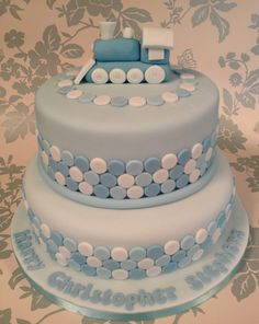 Christening cake for a boy but switch out train for elephant from baby shower! Torta Baby Shower, Baby Shower Cakes For Boys, Baby Boy Cakes, Cupcakes, Cupcake Cakes, Christening Cake Boy, Christening Cakes, Dedication Cake, Toddler Birthday Cakes