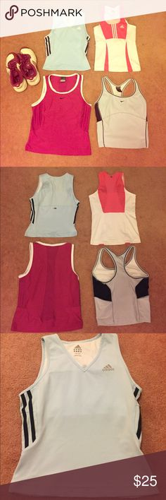 SET OF 4 ✨Nike & Adidas athletic tops (1) Size S Adidas powder blue top with Climacool technology and built-in sports bra. (2) Size XS hot pink and white Adidas top with Climacool technology and built-in sports bra. (3) Size S Nike fuschia top with Dri-fit technology. (4) Size S powder blue Nike top with Dri-fit technology and built-in sports bra. --- All gently worn with no real signs of use! They seem to run small so ideally for a size XS person! Nike Tops