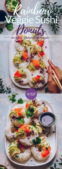 Rainbow Sushi Donuts are light, refreshing and fun! Perfect for date night, or dinner with your girls. Dip in tamari, or try my tamari almond butter sauce. Vegan Appetizers, Vegan Dinner Recipes, Vegan Dinners, Vegan Recipes Easy, Appetizer Recipes, Vegetarian Recipes, Asian Recipes, Appetizer Ideas, Party Recipes