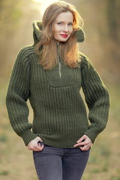 Green wool sweater with zipper turtleneck wide collar hand knitted pullover by SuperTanya Fluffy Sweater, Mohair Sweater, Long Sweaters, Cable Knit Sweaters, Sweater And Shorts, Green Wool, Knit Dress, Hand Knitting, Knitwear