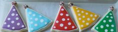 Polka Dotted Party Hat Cookies