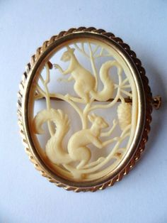 Art Deco Celluloid Brooch French Old Plastic Trombone Clasp Squirrels