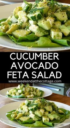 Cucumber Avocado Feta Salad Simple doesn t mean boring Serve this CUCUMBER AVOCADO FETA SALAD for lunch dinner or as a side to your favourite grilled dinner easysalad easyrecipe saladrecipe sidedish Cucumber Recipes, Healthy Salad Recipes, Diet Recipes, Healthy Snacks, Vegetarian Recipes, Healthy Eating, Cooking Recipes, Cucumber Avacado Salad, Recipies