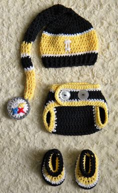 Handmade - Pittsburgh Steelers Inspired Football Baby Crochet longtail hat adfe2c18b