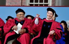 Actor James Earl Jones and Facebook founder and CEO Mark Zuckerberg receive honorary doctorates from Harvard University at its 2017 commencement on May 25 in Cambridge, Massachusetts. Zuckerberg studied computer science at Harvard before leaving to move establish Facebook in Palo Alto, California, and returned to the campus and his former dorm room this week to livestream his visit..