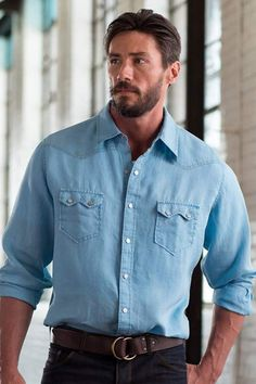 Sawtooth Linen Snap Shirt, Style # B1440LL 100% Linen, Pick Stitch Detail, Thunderbird Snap, Sawtooth Pocket A perfect summer fabric! Colors available are Cloud and Stone