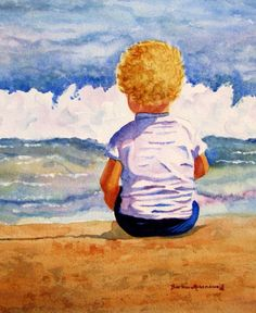 Beach Baby Child Art Print Painting of Original Watercolor, Barbara Rosenzweig, Etsy, Boy Girl Nursery Reproduction Ocean Home Decor Gift