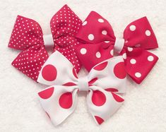 Red Polka Dot Bows Red And White Bows by LittleAsAccessories