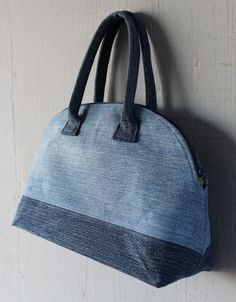 Denim Doctor Handbag with Interior Pocket and Lined with a Multi-Colored Vintage Floral Inspired Canvas-Silk Fabric by AllintheJeans on Etsy